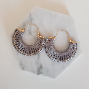 Grey and gold silk touch hoops