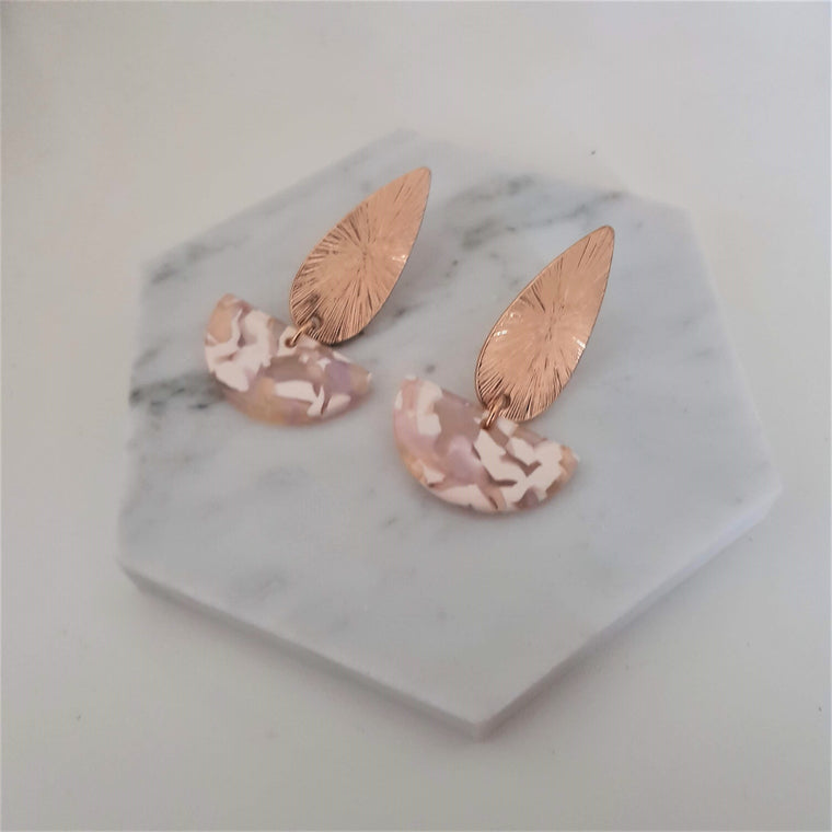 Leaf and crescent drop earrings