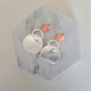 Circle drop earrings - Rose gold and silver