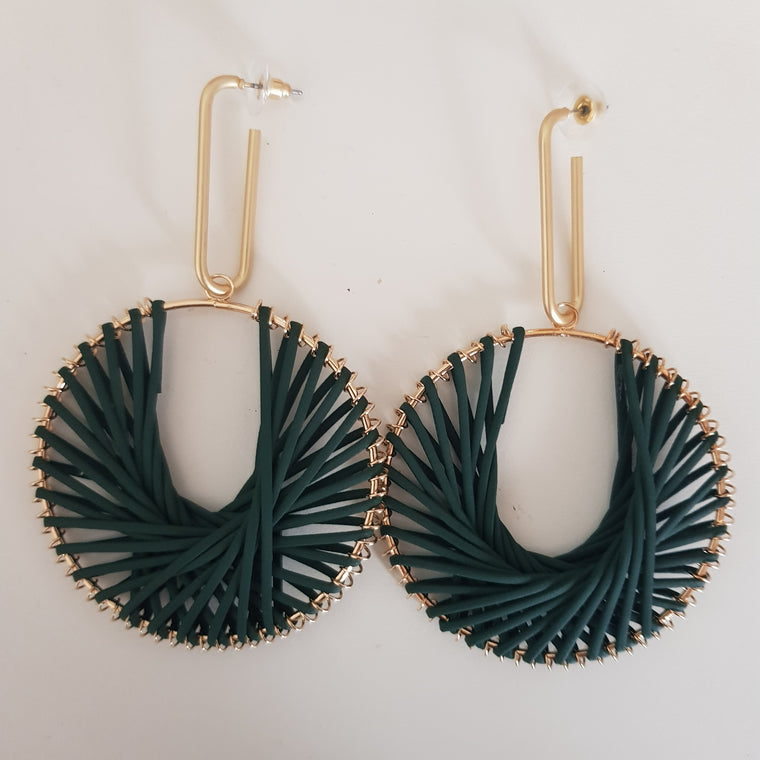 Weave circle statement earrings - Dark green and gold