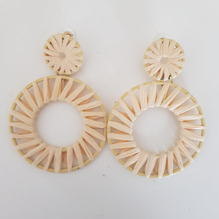 Rattan double circle statement earrings
