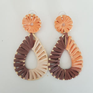 Rattan tear drop earrings - multi