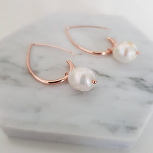 Pearl drop rose gold earrings