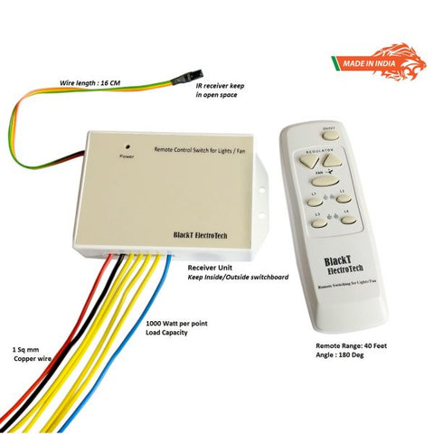 Remote Control Switch System For 4 Lights & 1 Fan