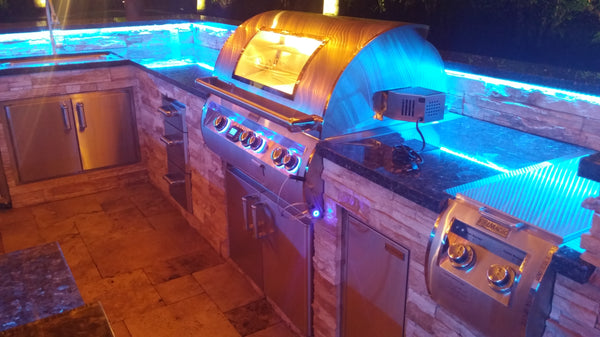 The Night Time Is The Right Time At This Stonewood Residence In West  Kendall. Color Changing LED Lights Are A Custom Add On Any Outdoor Kitchen  Can Use.