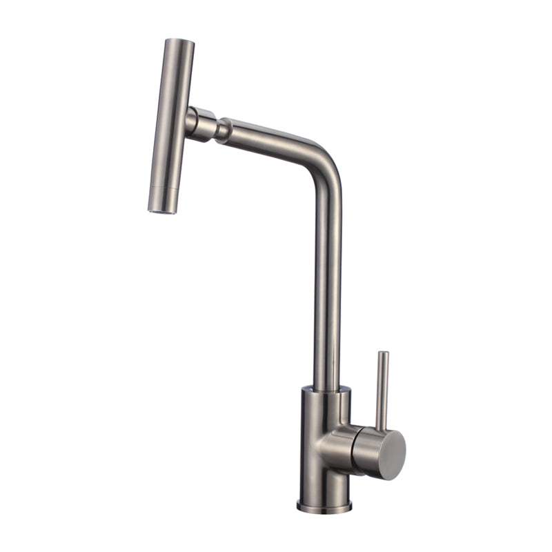 Single Handle Sink Faucet SS Body W/Plate - Satin Finish