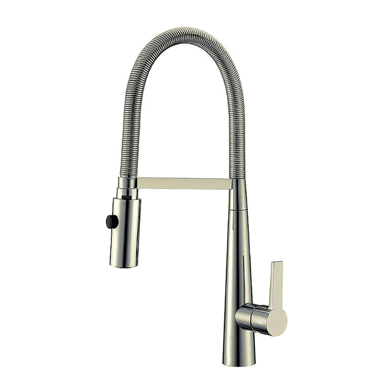 Sgle Hdle Sink Faucet Brass Body 20-1/2¨ High Spout Pull Spring - Satin Finish