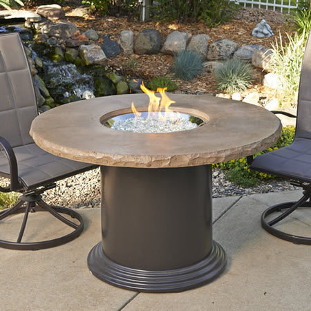 Outdoor Greatroom Colonial Dining Fire Pit Table with Mocha Supercast Top - 183-M-48-DIN-K