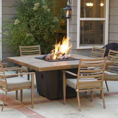 American Fyre Designs French Barrel Oak Cosmo Square Dining Firetable