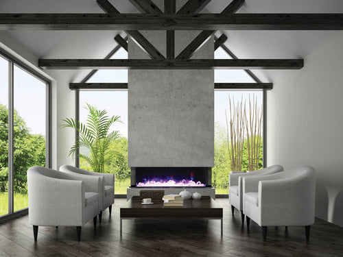 Amantii 3 Sided 72 Inch Electric Fireplace - Indoor/ Outdoor -72-TRU-VIEW-XL
