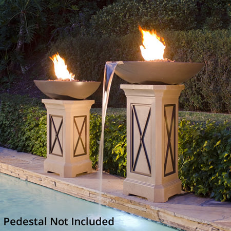 American Fyre Designs 40 Inch Marseille Fire Bowl with Water Spout - 752-xx-80-V6xC