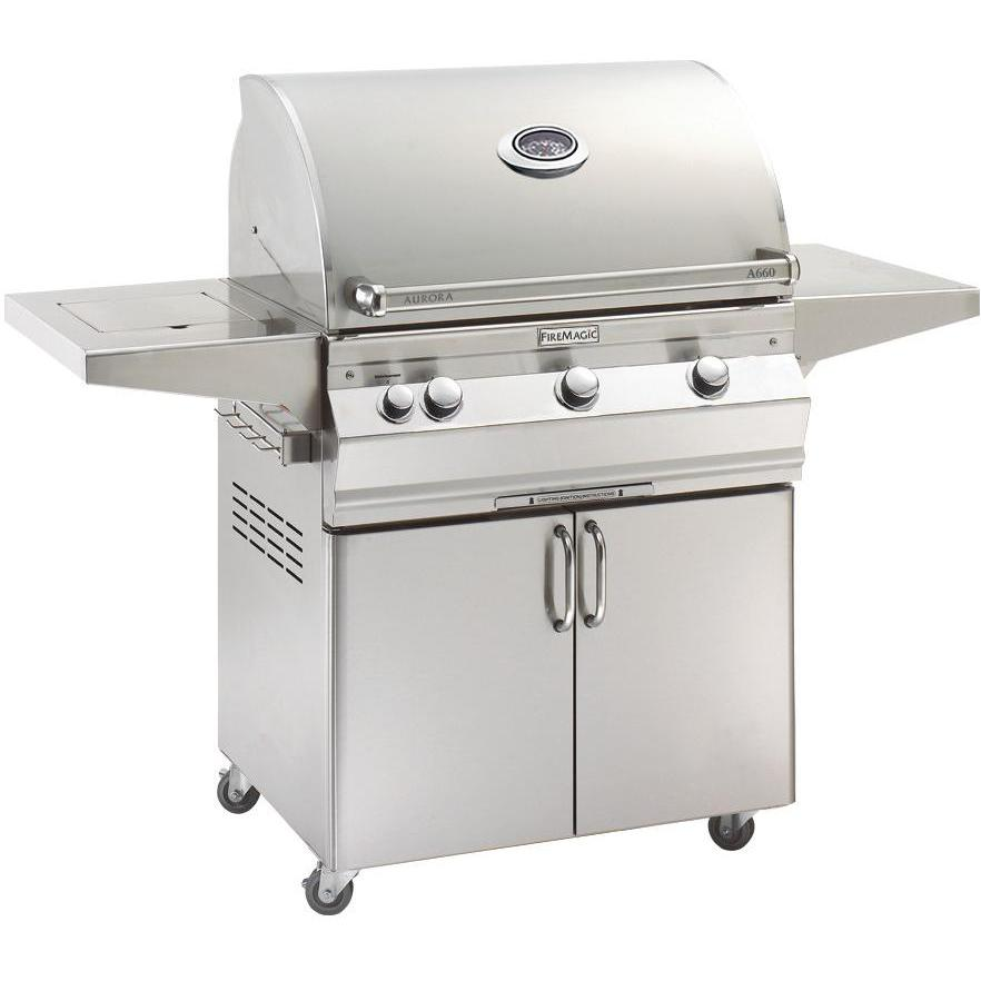 Fire Magic Aurora A660s 30-Inch Freestanding Grill With Analog Thermometer And Single Side Burner - A660s-5EAN-62