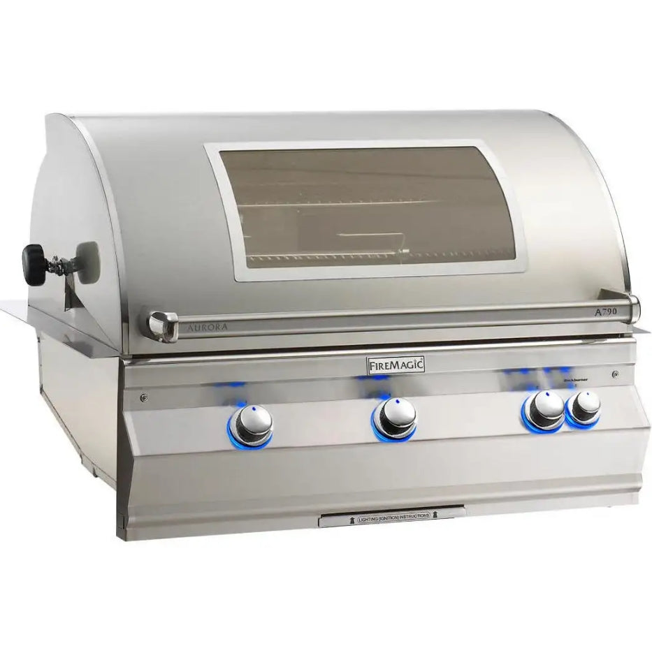 Fire Magic Aurora A790i 36-Inch Built-In Propane Gas Grill With One Infrared Burner, Analog Thermometer, Rotisserie A790i-6LAP/N / With Magic View Window - A790i-6LAP/N-W
