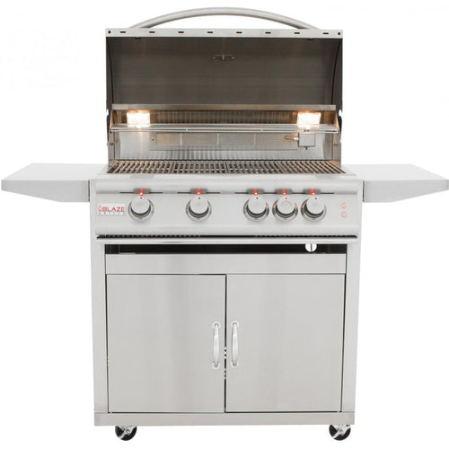 Blaze LTE 32-Inch 4-Burner Freestanding Grill With Rear Infrared Burner & Grill Lights - BLZ-4LTE2-CART