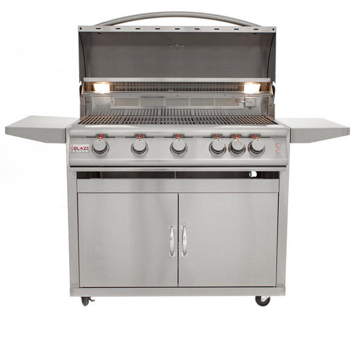 Blaze LTE 40-Inch 5-Burner Freestanding Grill With Rear Infrared Burner & Grill Lights - BLZ-5LTE2-CART