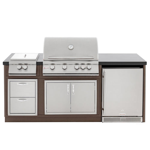 Blaze BBQ Island With 32-Inch 4-Burner Gas Grill, Power Burner, & Refrigerator