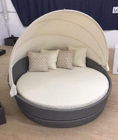 Round Canopy Bed With 360° Rotation