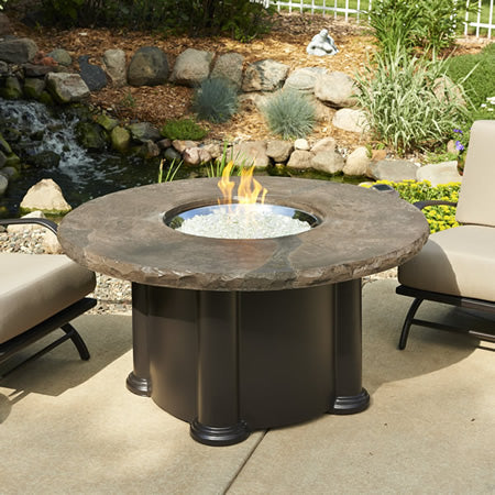 Outdoor Greatroom Colonial Chat Fire Pit Table with Marbleized Noche Supercast Top - 183-COLONIAL-48-MNB-48-K