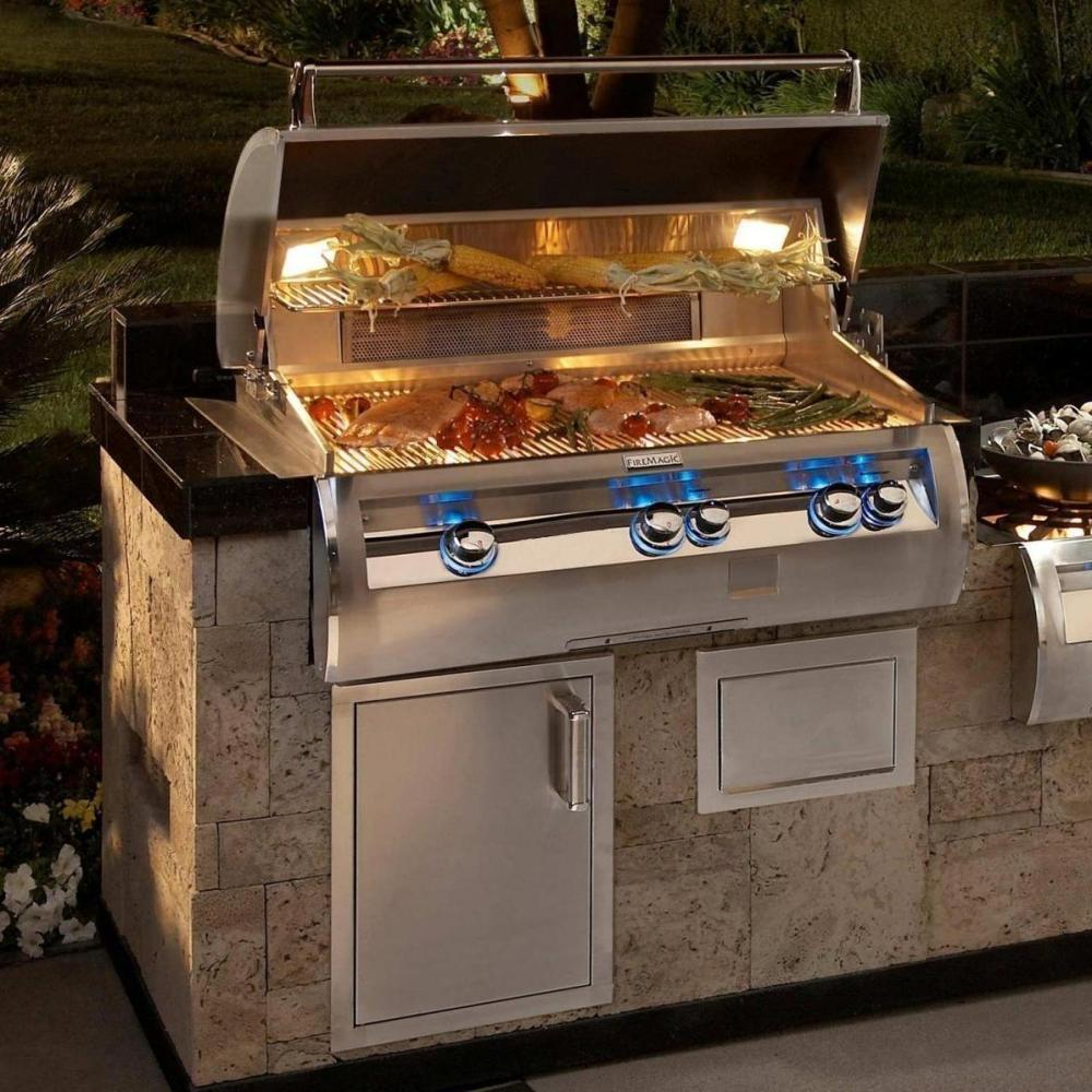 Fire Magic Echelon Diamond E790i 36-Inch Built-In Gas Grill with Analog Thermometer - E790i-4EAP/N / With Magic Viewing Window - E790i-4EAP/N-W