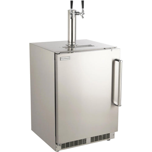 Fire Magic 24-Inch Left Hinged Outdoor Built-In Dual Tap Kegerator - Stainless Steel - 3594-DL