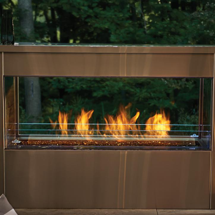 Napoleon Galaxy See Thru 51-Inch Outdoor Built-In Natural Gas Fireplace W/ Electronic Ignition - GSS48ST
