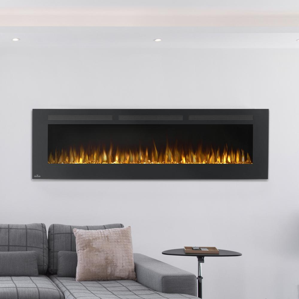 wall p fireplaces mount black curved electric in mounted muskoka fireplace front
