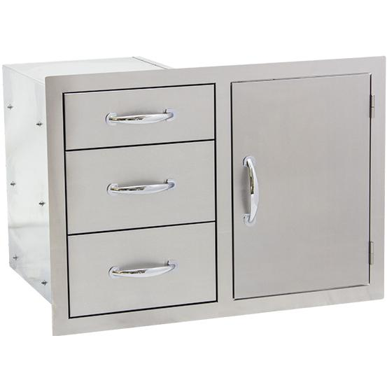 Summerset 30-Inch Stainless Steel Flush Mount Access Door & Triple Drawer Combo - SSDC-3