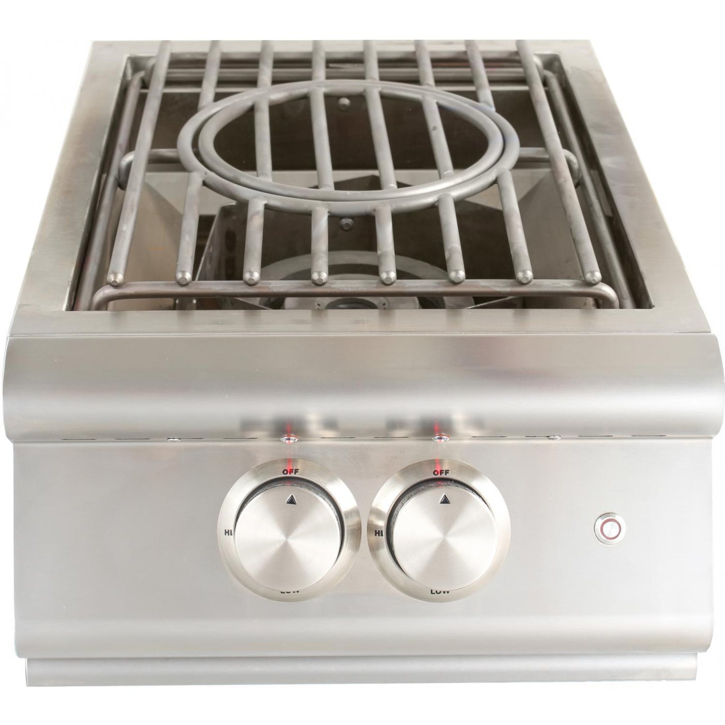 Blaze Built-In High Performance Power Burner W/ Wok Ring & Stainless Steel Lid and Lights - BLZ-PBLTE-LP/NG