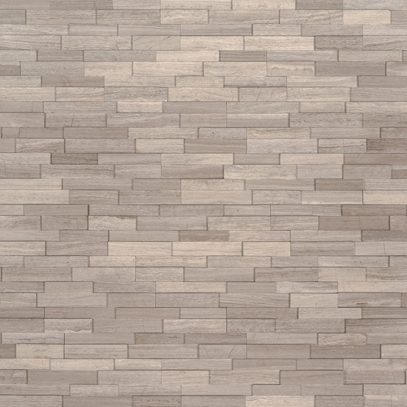 White Oak 3D Mini Stacked Stone Panels