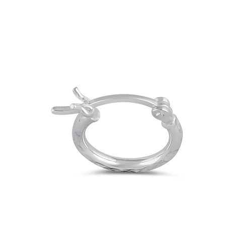 Sterling Silver 2.0MM x 15MM Textured Hoop Earrings