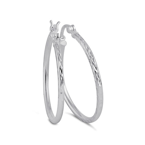 Sterling Silver 2.0MM x 25MM Textured Hoop Earrings
