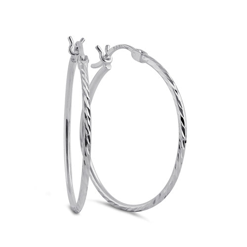 Sterling Silver 1.5MM x 25MM Textured Hoop Earrings