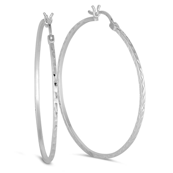 Sterling Silver 1.5MM x 45MM Diamond Cut Hoop Earrings