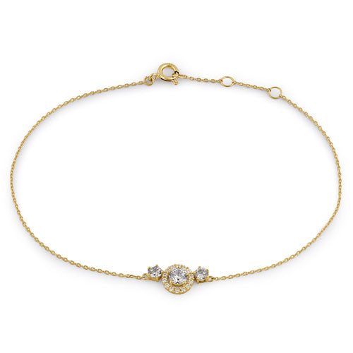 Solid 14K Yellow Gold CZ Halo Bracelet