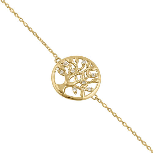 Solid 14K Yellow Gold CZ Tree of Life Bracelet