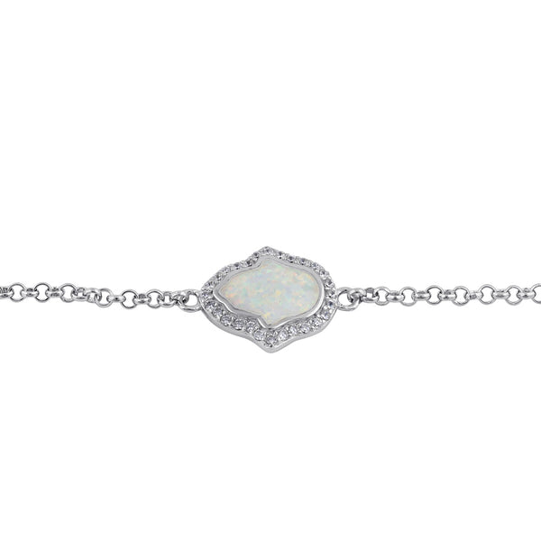 Sterling Silver Clear CZ and White Opal Hamsa Bracelet