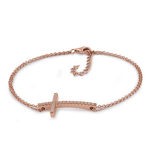 Sterling Silver Rose Gold Plated Clear CZ Cross Bracelet
