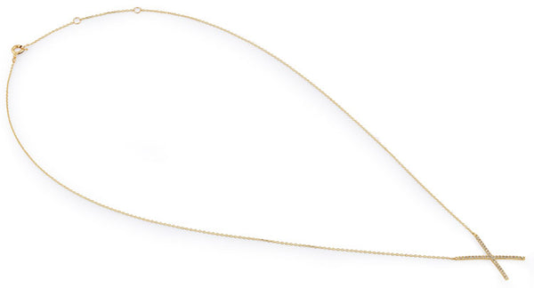 Solid 14K Yellow Gold CZ X Necklace