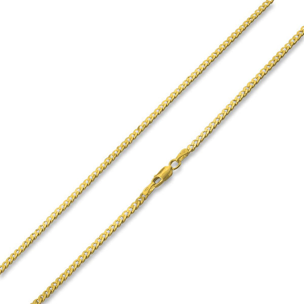 14K Gold Plated Sterling Silver Curb Chain 3MM