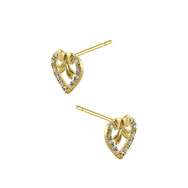 Solid 14K Yellow Gold Ribbon & Heart Diamond Earrings