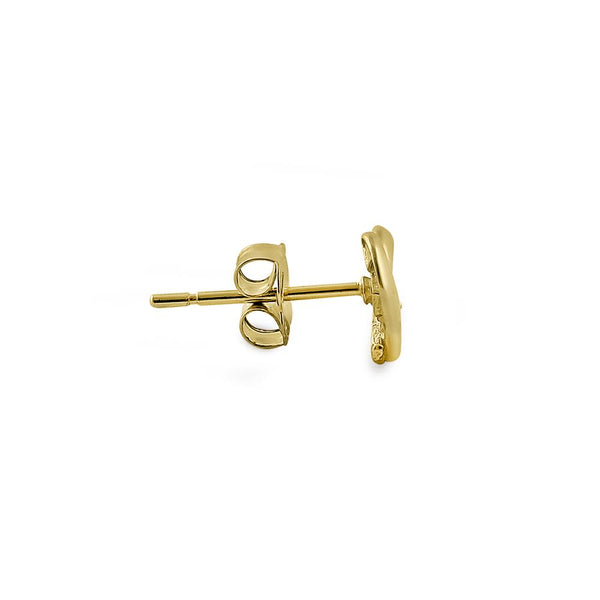 Solid 14K Yellow Gold Simple Overlap Heart Diamond Earrings