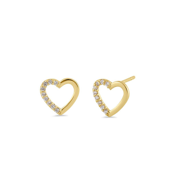 Solid 14K Gold Open Heart Diamond Earrings