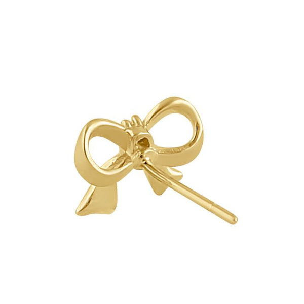 Solid 14K Gold Ribbon Bow Diamond Earrings
