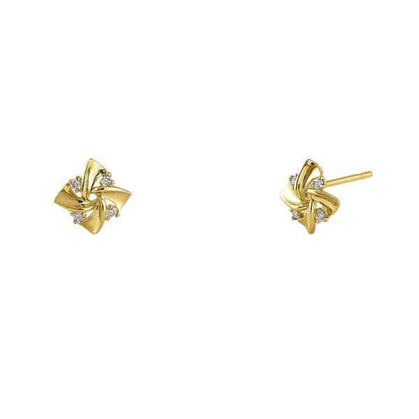 Solid 14K Yellow Gold Pinwheel Diamond Earrings