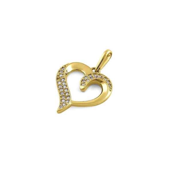 Solid 14K Yellow Gold Heart Double Row 0.13 ct. Diamond Pendant