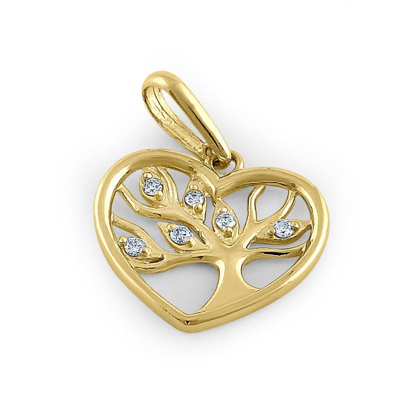 Solid 14K Yellow Gold Tree of Life Heart Diamond Pendant