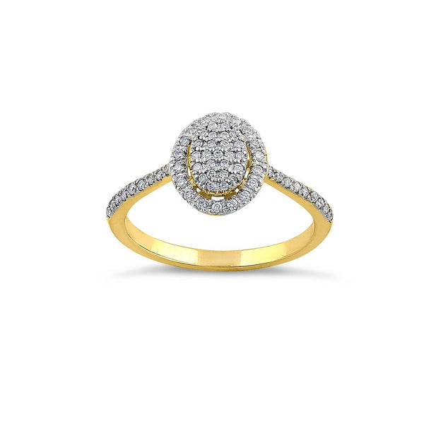 Solid 14K Yellow Gold Oval Cluster Halo 0.29 ct. Diamond Ring