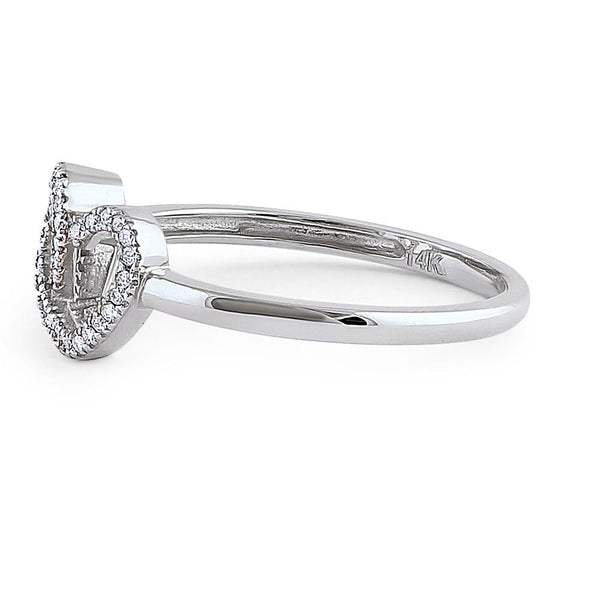 Solid 14K White Gold Double Heart Diamond Ring