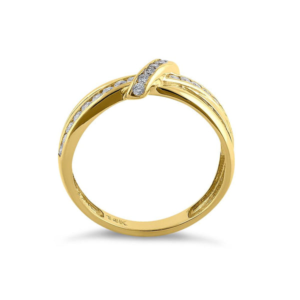 Solid 14K Yellow Gold Twist Diamond Ring