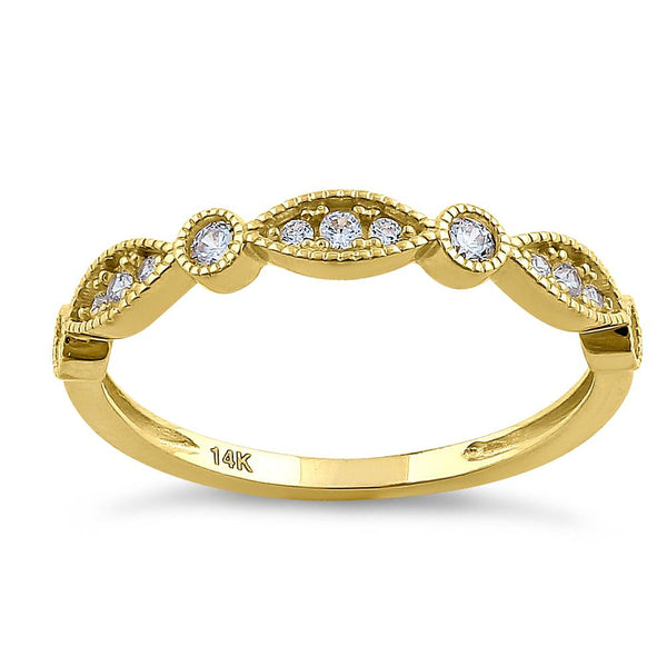 Solid 14K Yellow Gold Elegant Oval & Round Pattern 0.28 ct. Diamond Ring